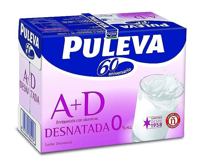 Puleva Leche Desnatada Vitaminas A+D - Pack 6 x 1 L - Total: