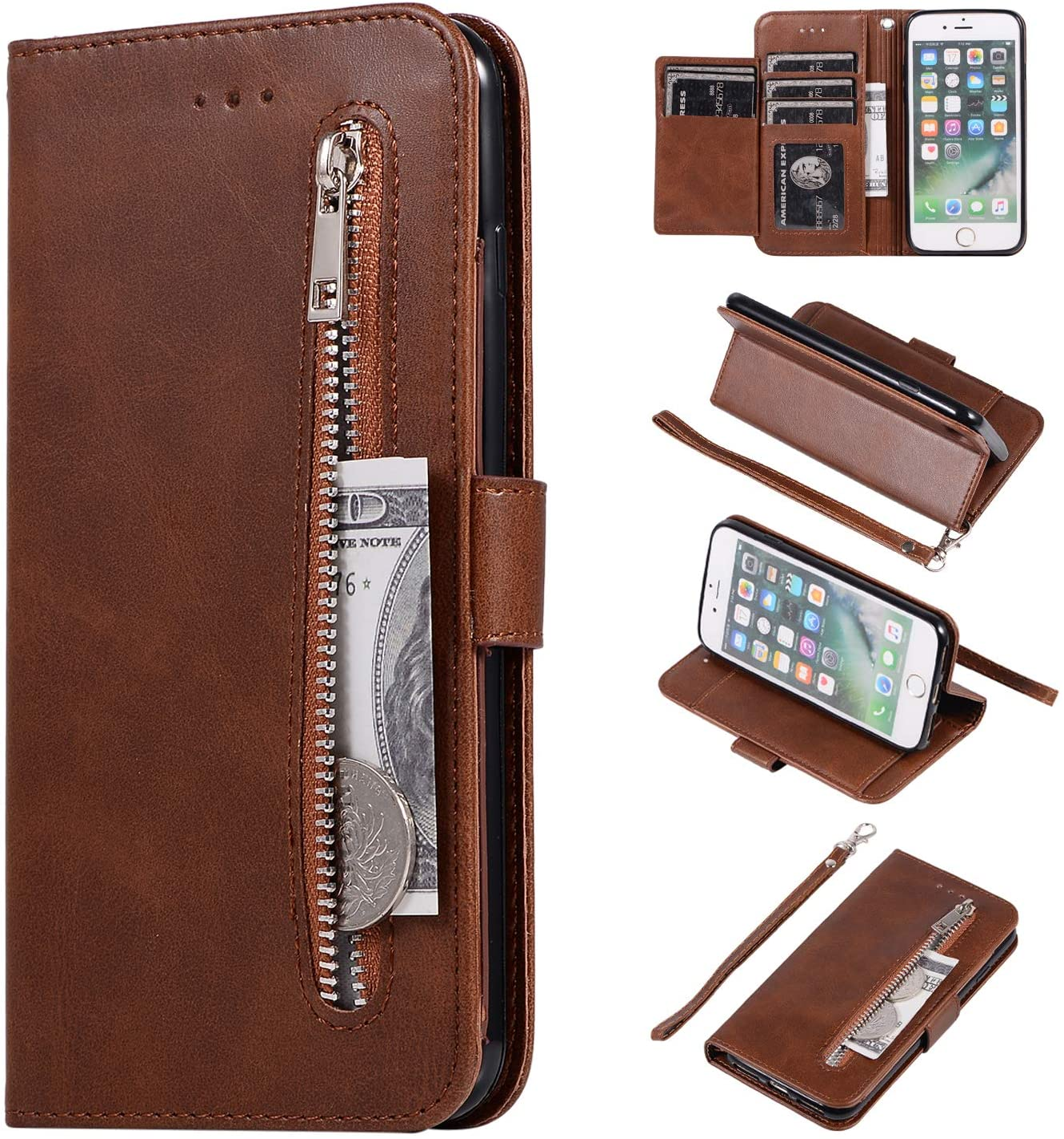 EYZUTAK Wallet Case for iPhone 8 Plus iPhone 7 Plus, 5 Card Slots Magnetic Closure Zipper Pocket Handbag PU Leather Flip Case with Wrist Strap TPU Kickstand Cover for iPhone 8 Plus iPhone 7 Plus-Brown