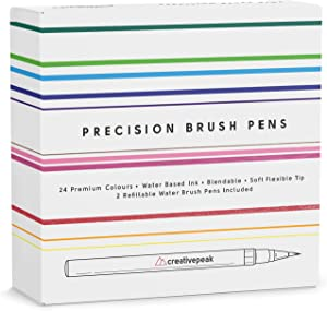 Watercolor Brush Pens - 24 Vibrant Coloring Pens & 2 Blending Brushes - Premium Quality Art Supplies Featuring Soft, Real Tip - Perfect for Calligraphy, Lettering, Adult Coloring - Creativepeak