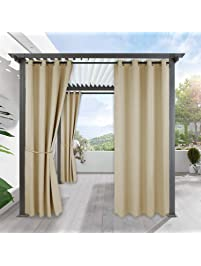 Pergola Outdoor Curtain Panel Decoration   RYB HOME Blackout Curtains  Outdoor DÃcor Top Ring Grommet Rust