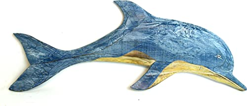 Hand Carved Blue White WASH Wood Dolphin Wall Art Hanging Tropical Nautical Decor