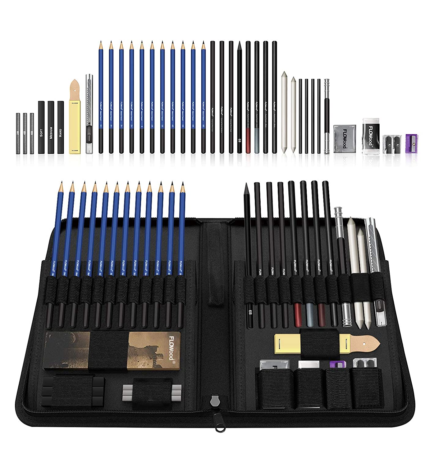 Flowood 40 Piece Professional Art Kit Drawing and Sketching Pencil Set with Eraser,Pastels,Graphite and Charcoal Sticks Art Supplies