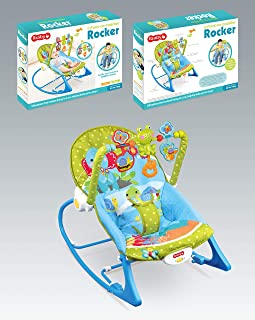 Infant to Toddlers Bouncing Rocker Newborn Vibration Musical Baby Chair Blue
