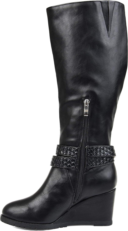 Brinley Co 12 Regular US Womens Comfort Wedge Braid Strap Boots Black