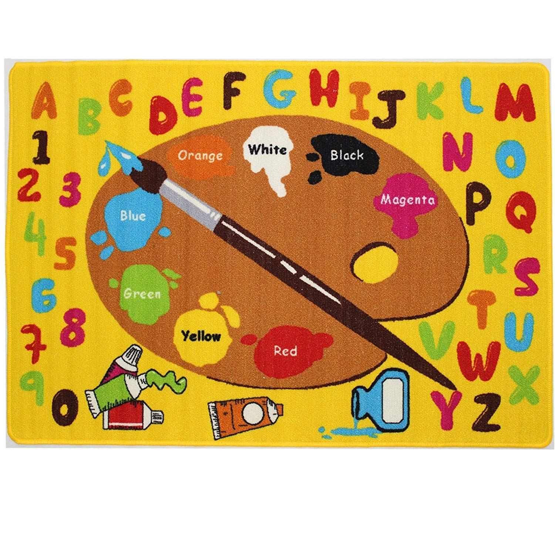 Mybecca Kids Rug Kids ABC Little Artist Area Rug Educational Alphabet Letter & Numbers (5 x 7)