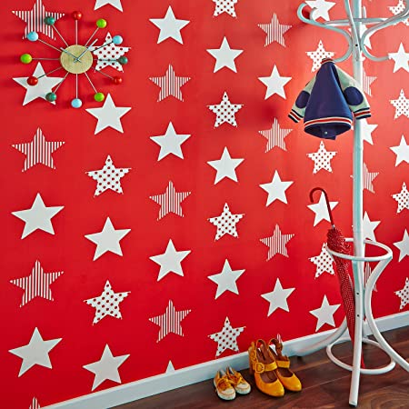 Graham Brown Kids Boys Superstar Red Star Print Wallpaper Bedroom Playroom