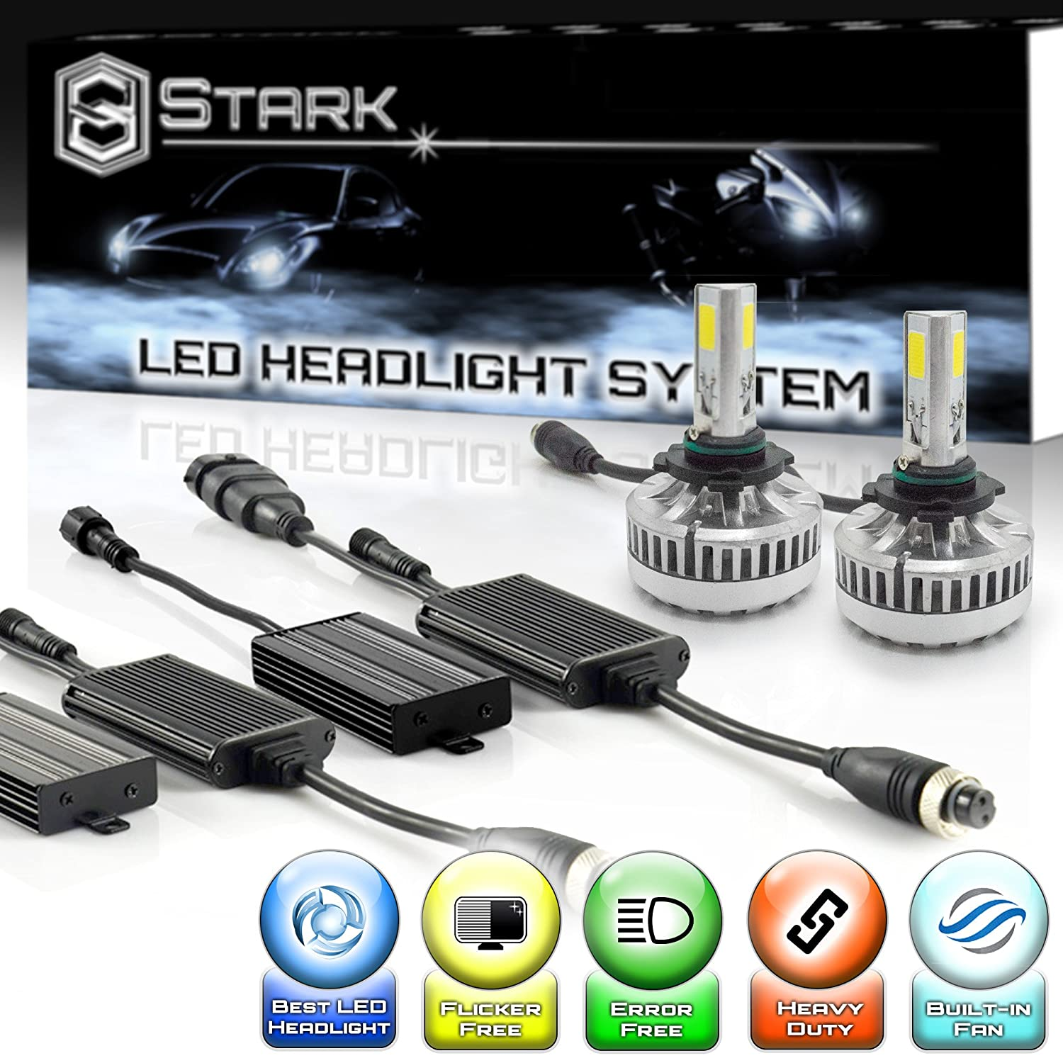 Stark 90W 9000LM LED Headlight Conversion Kit - Cool White 6000K 6K - High Beam - 9005 / HB3 UNV inc