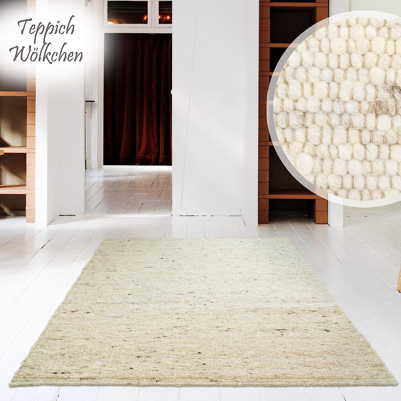 Hand-Web-Teppich Premium Gewalkt   Reine Schur-Wolle im Skandinavischen Design   Für Wohnzimmer Esszimmer Schlafzimmer Flur Läufer Kinderzimmer   Grau Beige (Sand gewalkt - 170 x 230 cm)