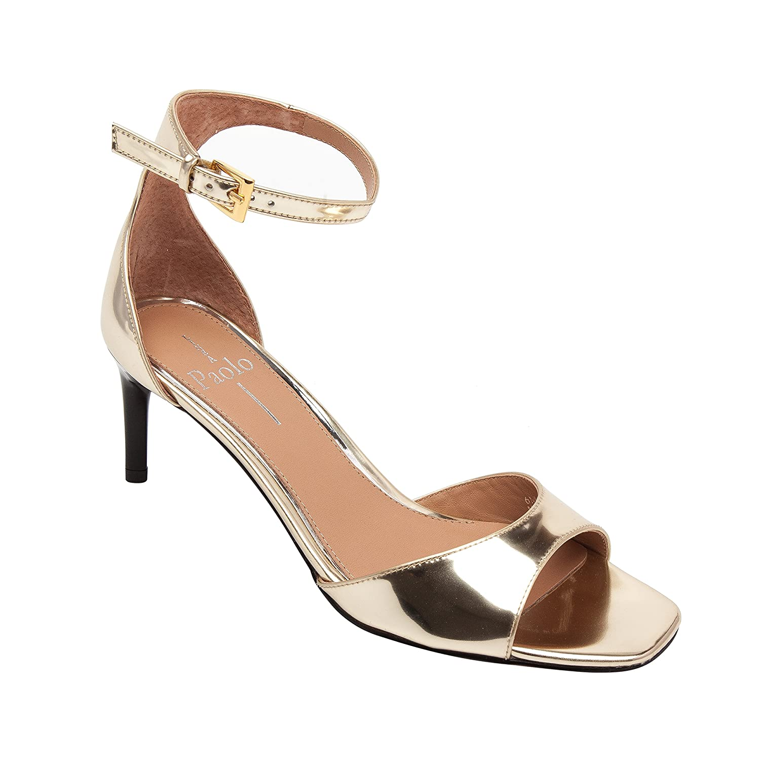 Linea Paolo Helen | Women's Mid-Height Leather Ankle Strap Sandal B079578Q1Y 10 M US|Gold Leather