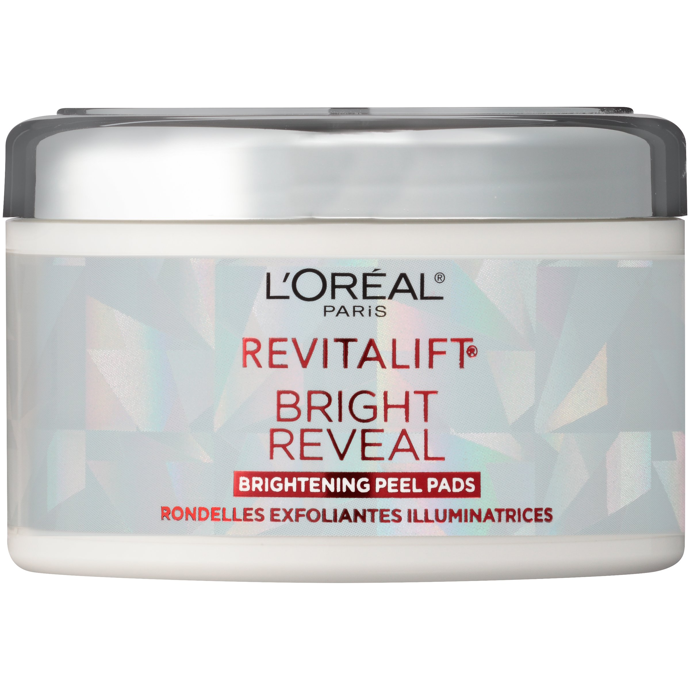 L'Oréal Paris Skincare Revitalift Bright Reveal Peel Pads, Daily Exfoliating Facial Pads to Reduce Wrinkles and Brighten Skin, 30 ct.