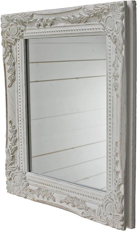elbmöbel Wand-Spiegel weiß 32x27x4.5 cm rechteckiger handgefertigter  Vintage-Antik-Rahmen aus Holz, inkl. Befestigung