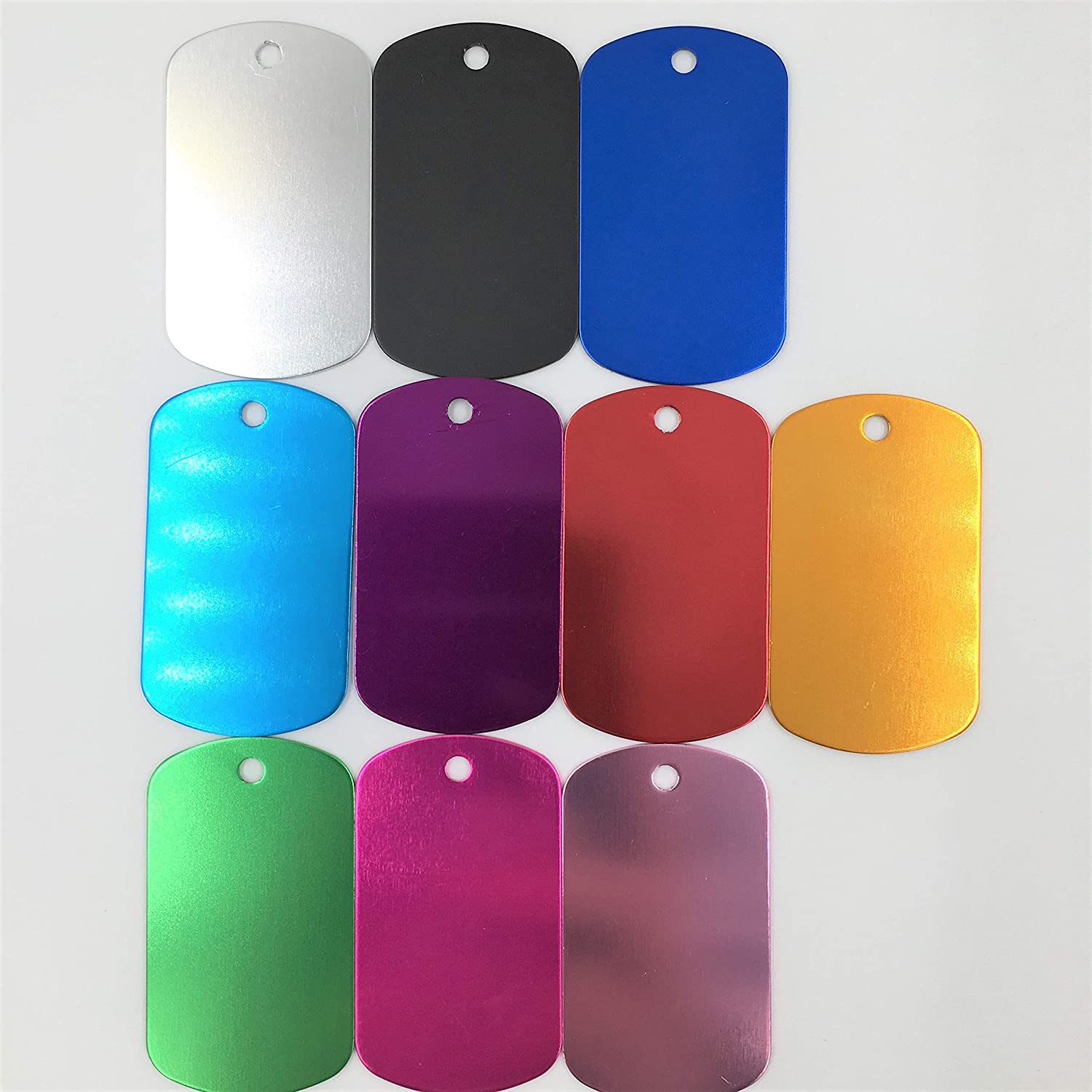 Pack of 10 Colorful Rectangle Anodized Aluminum Stamping Blanks Discs for Craft Tags Color Mix