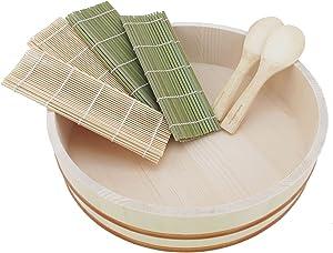 "BambooMN 14.2"" Sushi Oke Tub Hangiri with 7 Pieces Sushi Making Serving Accessory Kit"