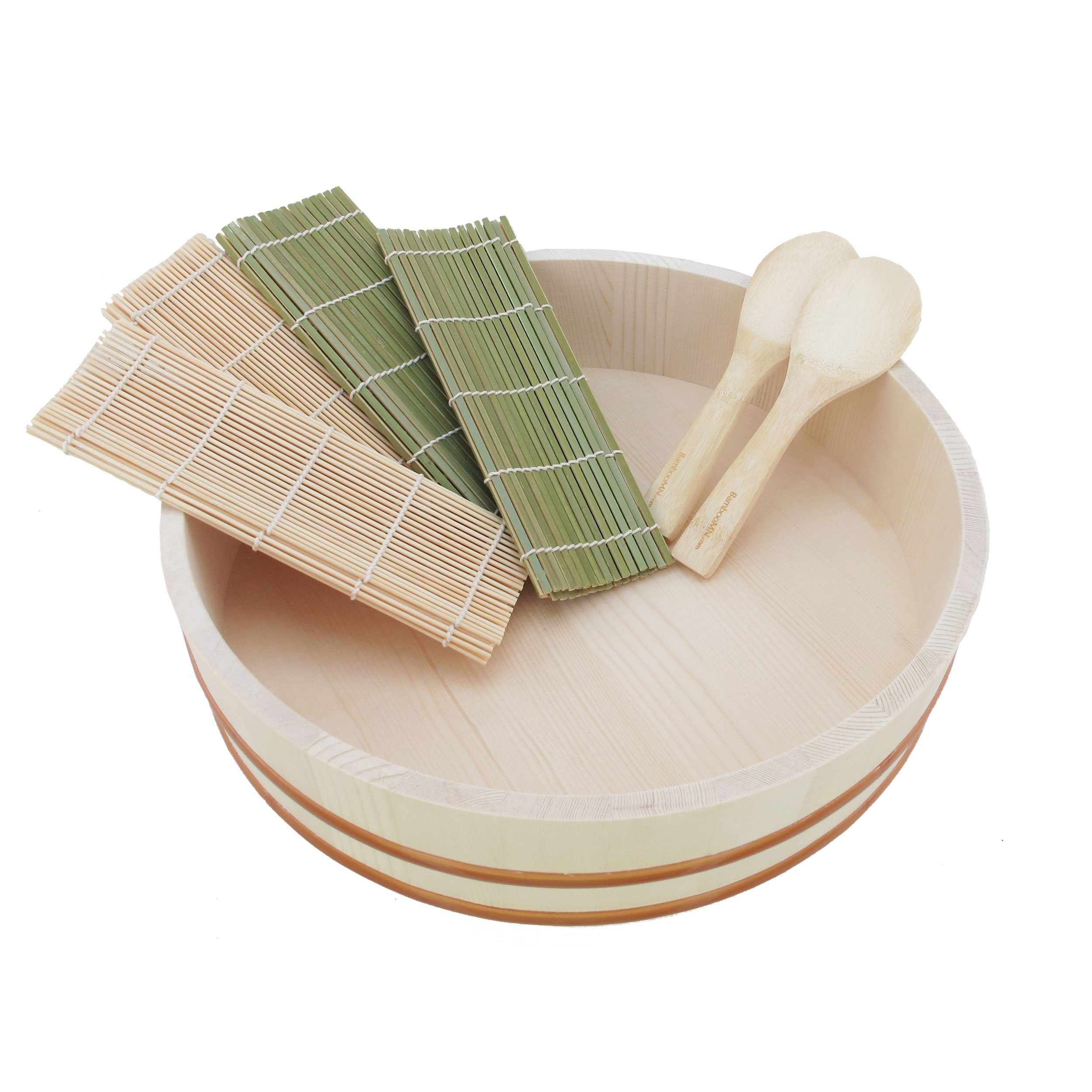 BambooMN 14.2'' Sushi Oke Tub Hangiri with 7 Pieces Sushi Making Serving Accessory Kit by BambooMN (Image #1)