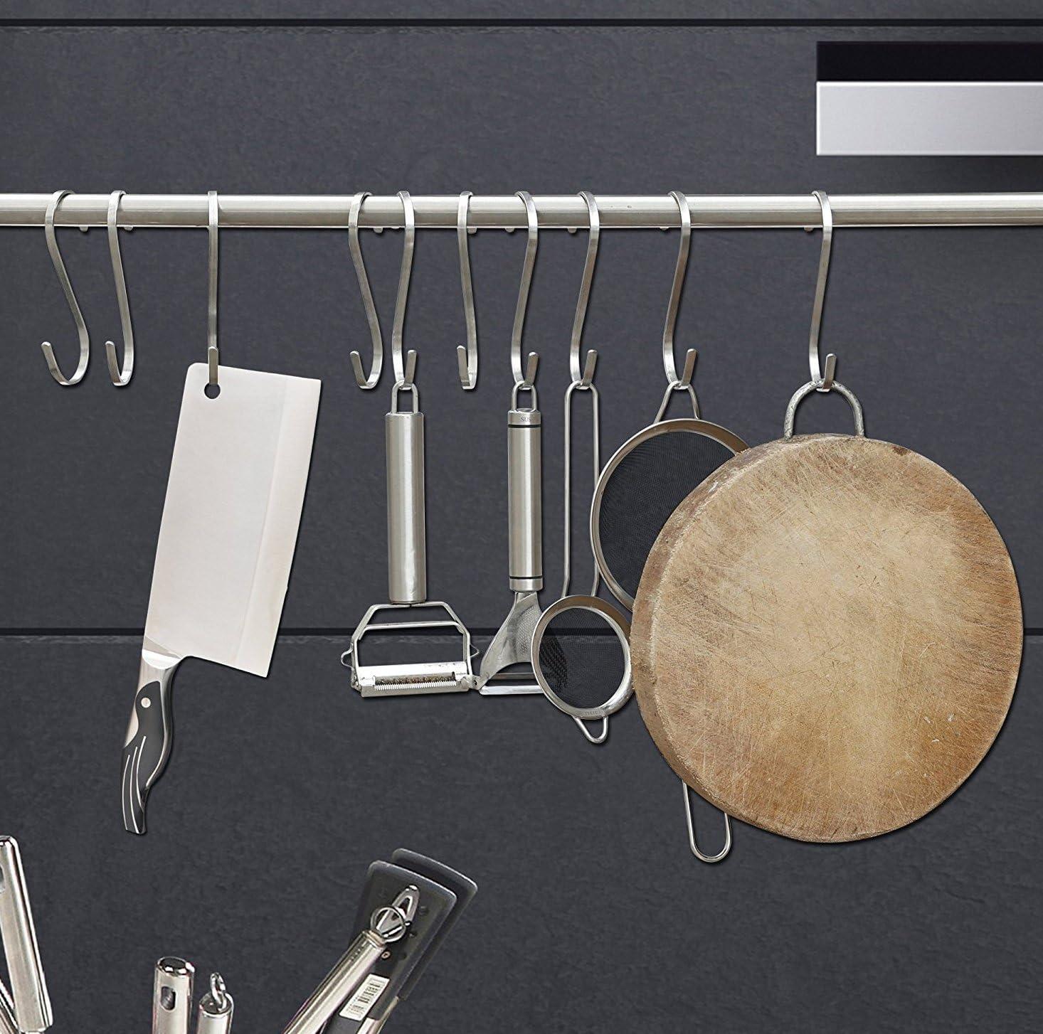 resistenti Teleost ganci piatti a S da cucina in acciaio inossidabile SUS304 spazzolato spessore 3/mm 6/pezzi per confezione Acciaio inossidabile medium per appendere pentole e padelle