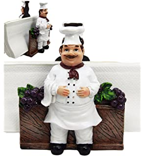Atlantic Collectibles Chef Alton Grape Wine Vineyard Dinner Napkin Holder Figurine Tabletop Decorative