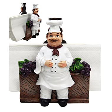 Ebros Gift Fat Chef Alton Grape Wine Vineyard Dinner Napkin Holder Figurine Tabletop Decorative Chefs Sous Grapes Vines