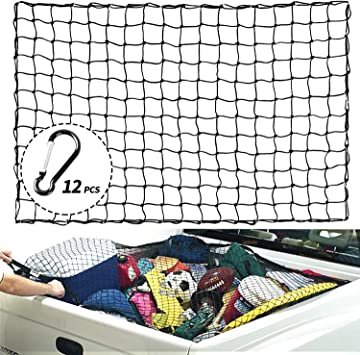 for Pickup Truck Bed Trailer SUV Rooftop Roof Rack Basket Travel Luggage Rack 4 X 4 Mesh XCAR 4 X 6 Heavy Duty Bungee Cargo Net Stretches to 8 x 12 with 12pcs Aluminium Hooks
