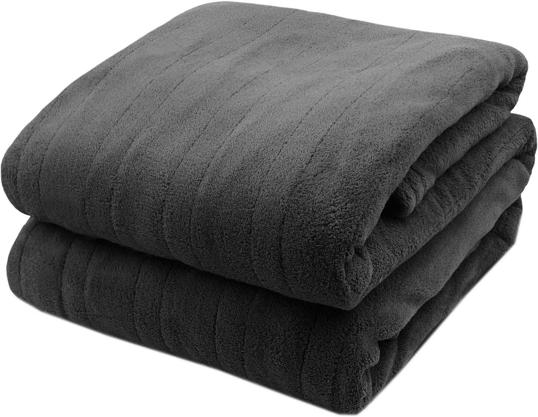 Biddeford Microplush Electric Heated Warming Blanket Twin Charcoal Gray Washable Auto Shut Off 10 Heat Settings