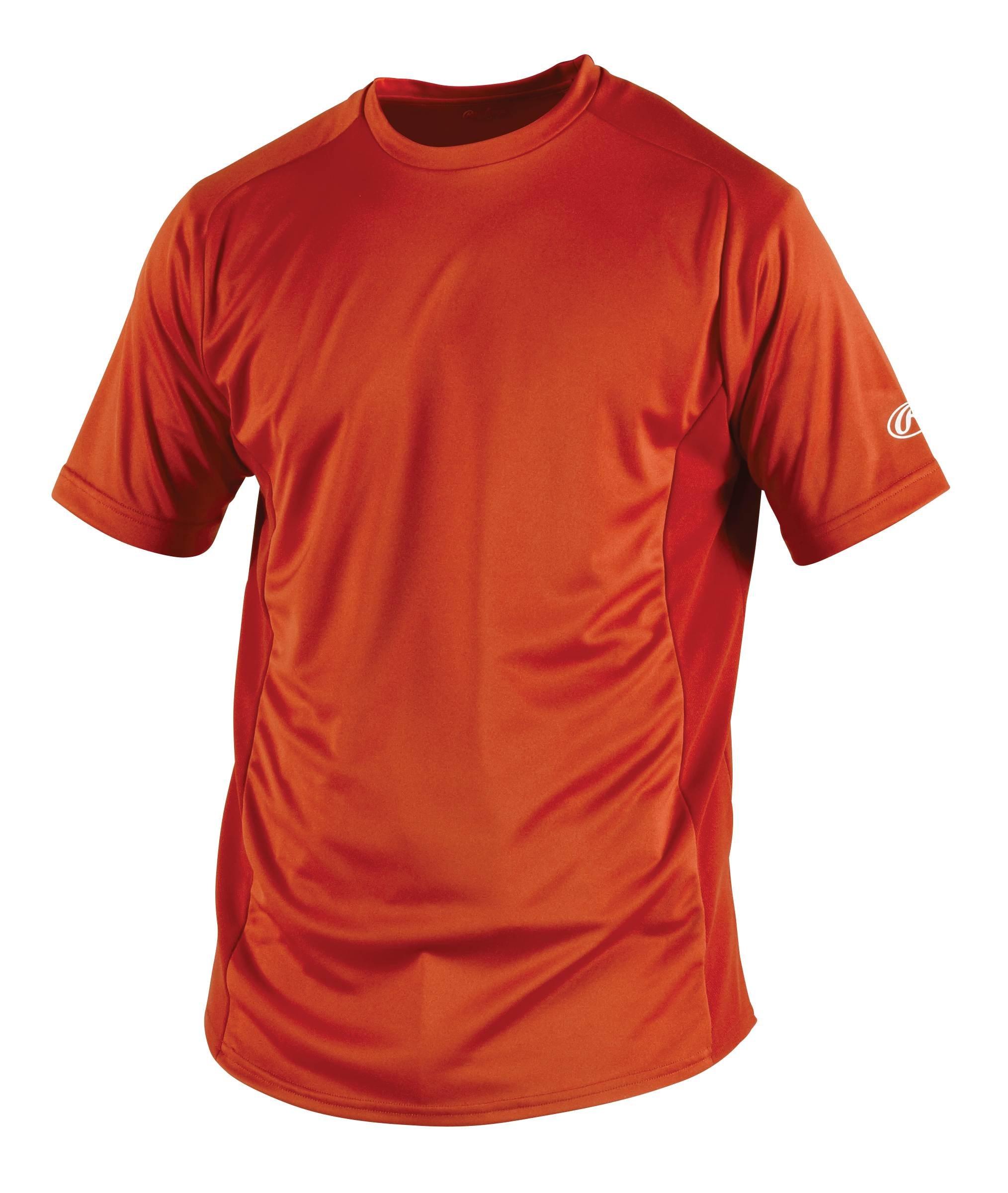 Rawlings Men's Short Sleeve Baselayer Shirt, Burnt