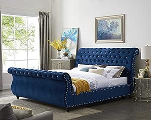 Roundhill Furniture Evora Velvet Upholstered Button Tufted, Queen, Blue