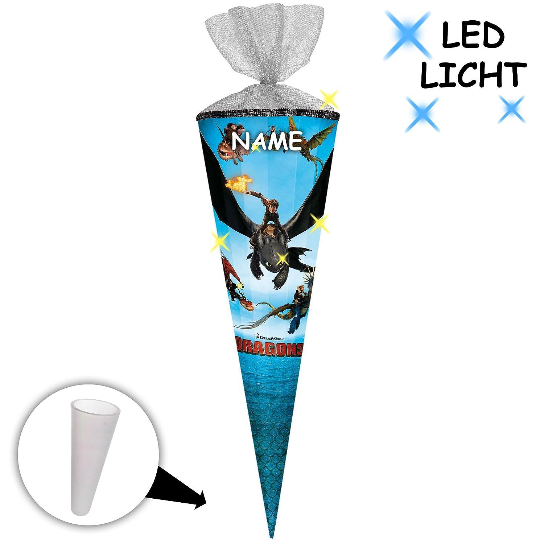 Unbekannt Leucht - LED LED LED Effekt ! _ Schultüte -  Dragons - Drachenzähmen leicht gemacht  - 70 cm - rund - incl. individueller _ großer 3-D Effekt _ Schleife - mit Namen.. 8a7882