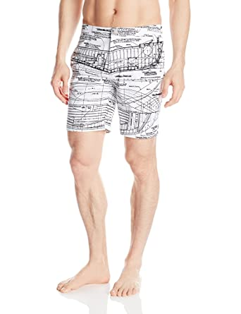 84f8086674354 onia Men's Calder 7.5-inch Blueprint Swim Shorts, Blueprint White, ...