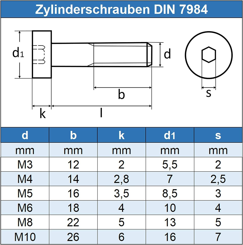 rostfrei DIN 7984 Gewindeschrauben Eisenwaren2000 - Zylinderkopf Schrauben ISO 14580 Edelstahl A2 V2A 30 St/ück Zylinderschrauben mit Innensechskant M6 x 16 mm