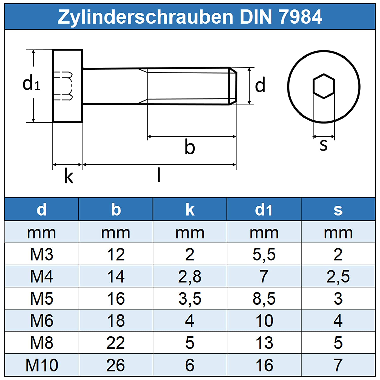 rostfrei Edelstahl A2 V2A - Zylinderkopf Schrauben ISO 14580 DIN 7984 Gewindeschrauben 10 St/ück Eisenwaren2000 Zylinderschrauben mit Innensechskant M6 x 16 mm