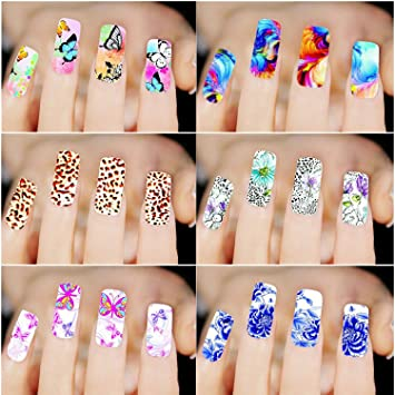 Amazon 6pcs Different Designs Nail Art Sticker Leopard Colorful