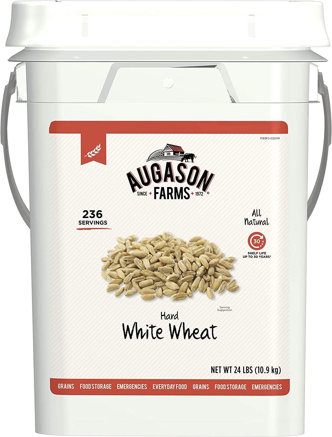Augason Farms Hard White Wheat Emergency Food Storage 24 Pound Pail
