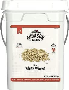 Augason Farms Hard White Wheat Emergency Food Storage 24 Pound Pail