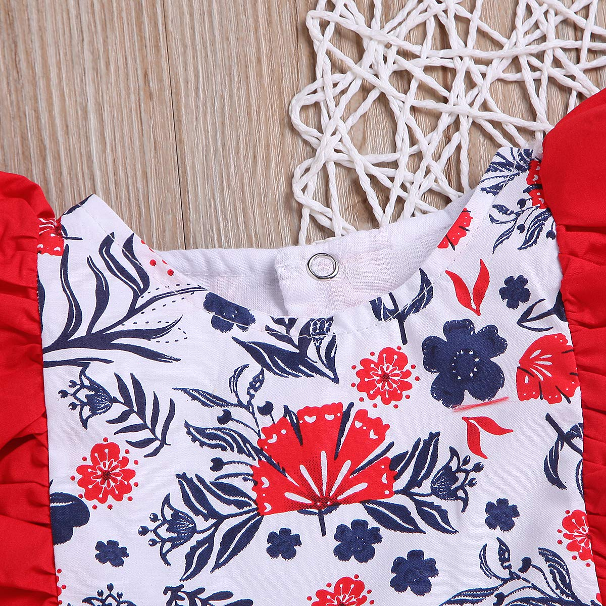Red, 12-18 Months Toddler Kids Baby Girls Dress Lace Fly Sleeve Skirt Cute Floral Onesie Clothes Set