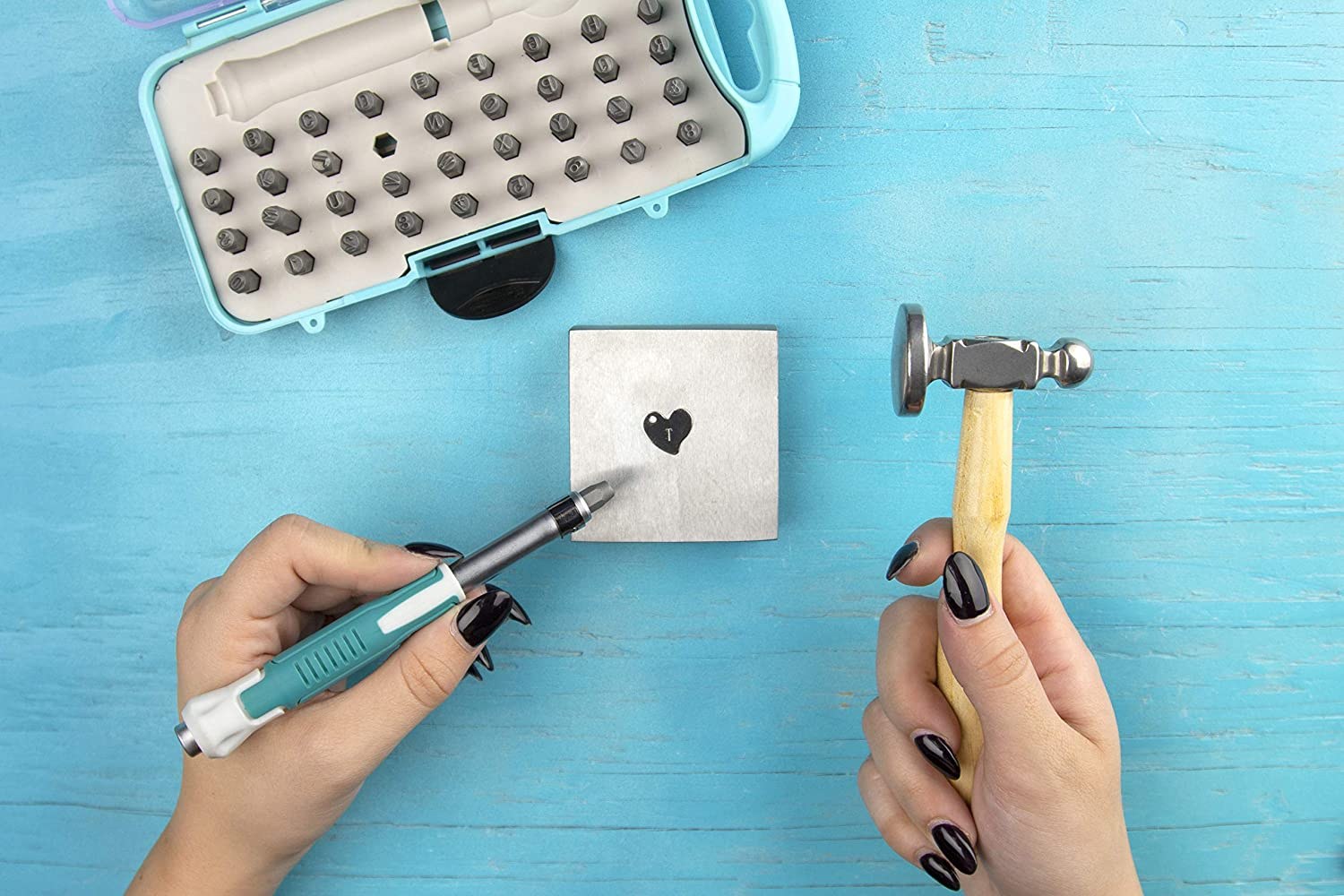 Charms Multi Cousin DIY Stamp /& Go Metal Stamping Tool Kit Set with Hammer Block and Bits