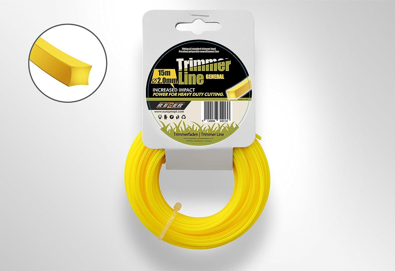 Fil pour coupe-bordure en nylon - 15m de long et extrêmement résistant - 2,0 mm, 2,4 mm et 3,0 mm - carré 0 mm - carré Rezer