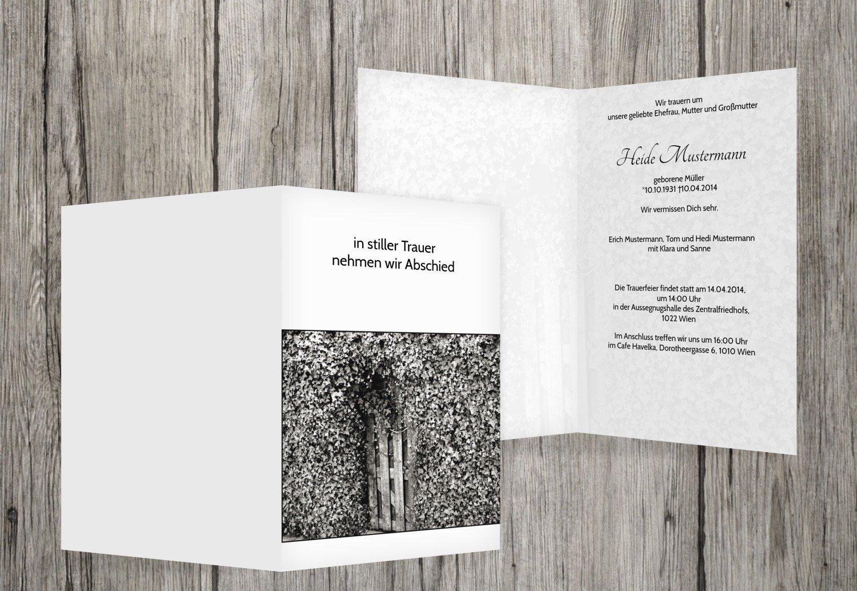 Tarjeta de luto Hiedra para puerta, beige, 70 70 70 Karten d722ba