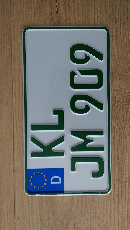 Traktor Agrar Kfz Kennzeichen Eu 255 X 130 Mm Reflektierend Grün Für Steuerbefreite Fahrzeuge Mit Wunschkennzeichen Auto