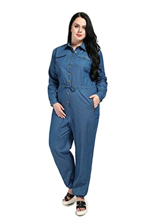 aca2e8dd3055 Women s Plus Size Denim Jumpsuits Long Sleeve Casual Denim Rompers Denim  Jeans (US12W