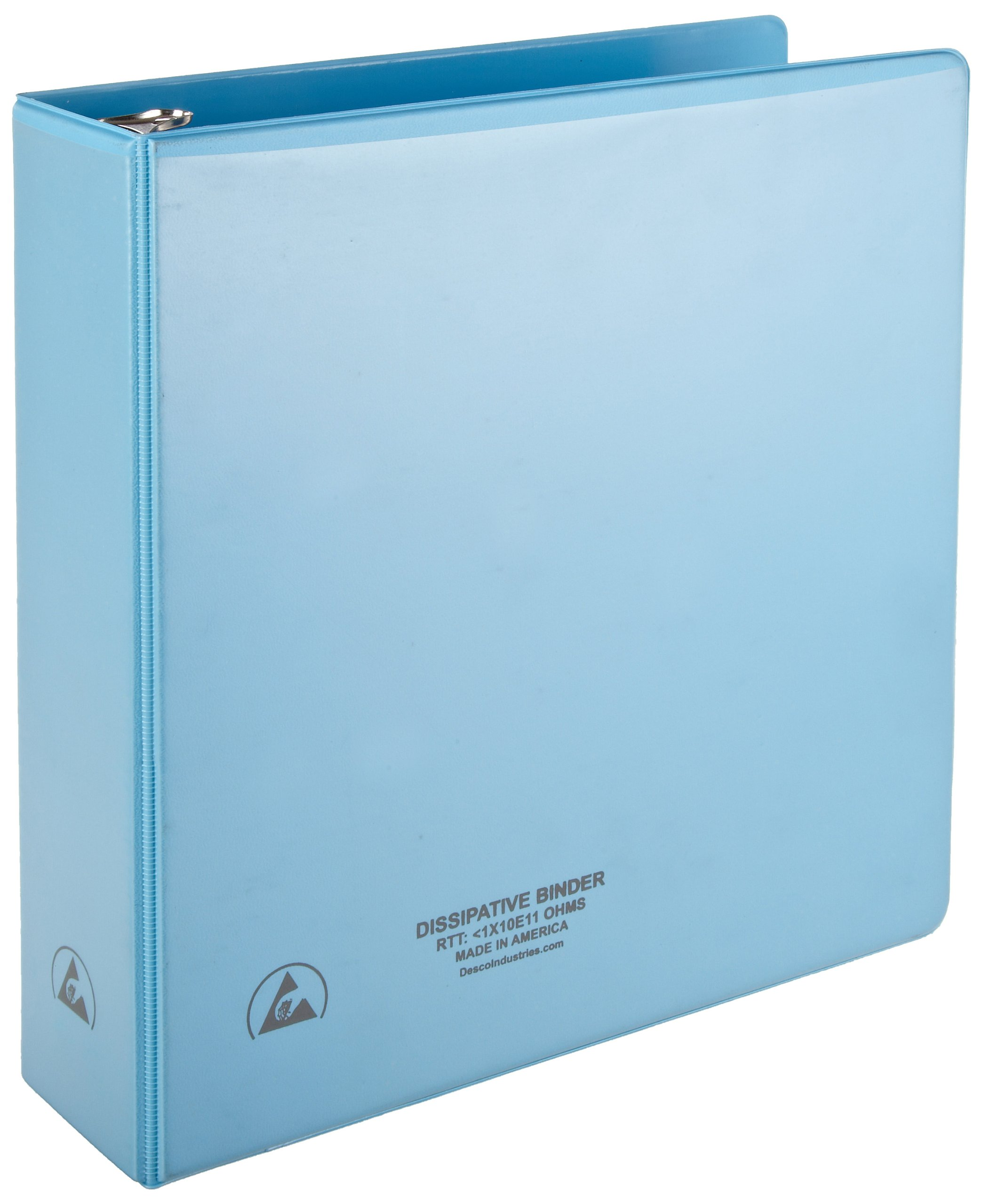DESCO 7433 Vinyl 3-Ring Static Dissipative Binder with Clear Pocket, 2'' Ring, 2.9'' Spine by Desco