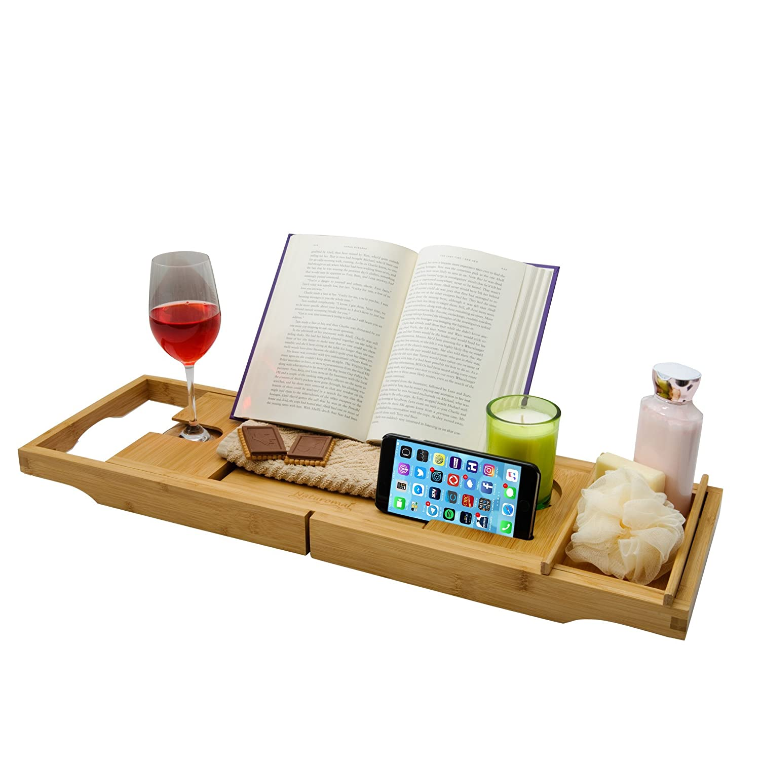 Luxury Bamboo Bathtub Caddy Tray with Non-Slip Rubber Grips. Includes Book/Tablet Holder with Splash Guard, Wine Glass Holder and Removable Side Tray. Extendable to fit Most Tubs. Naturomai