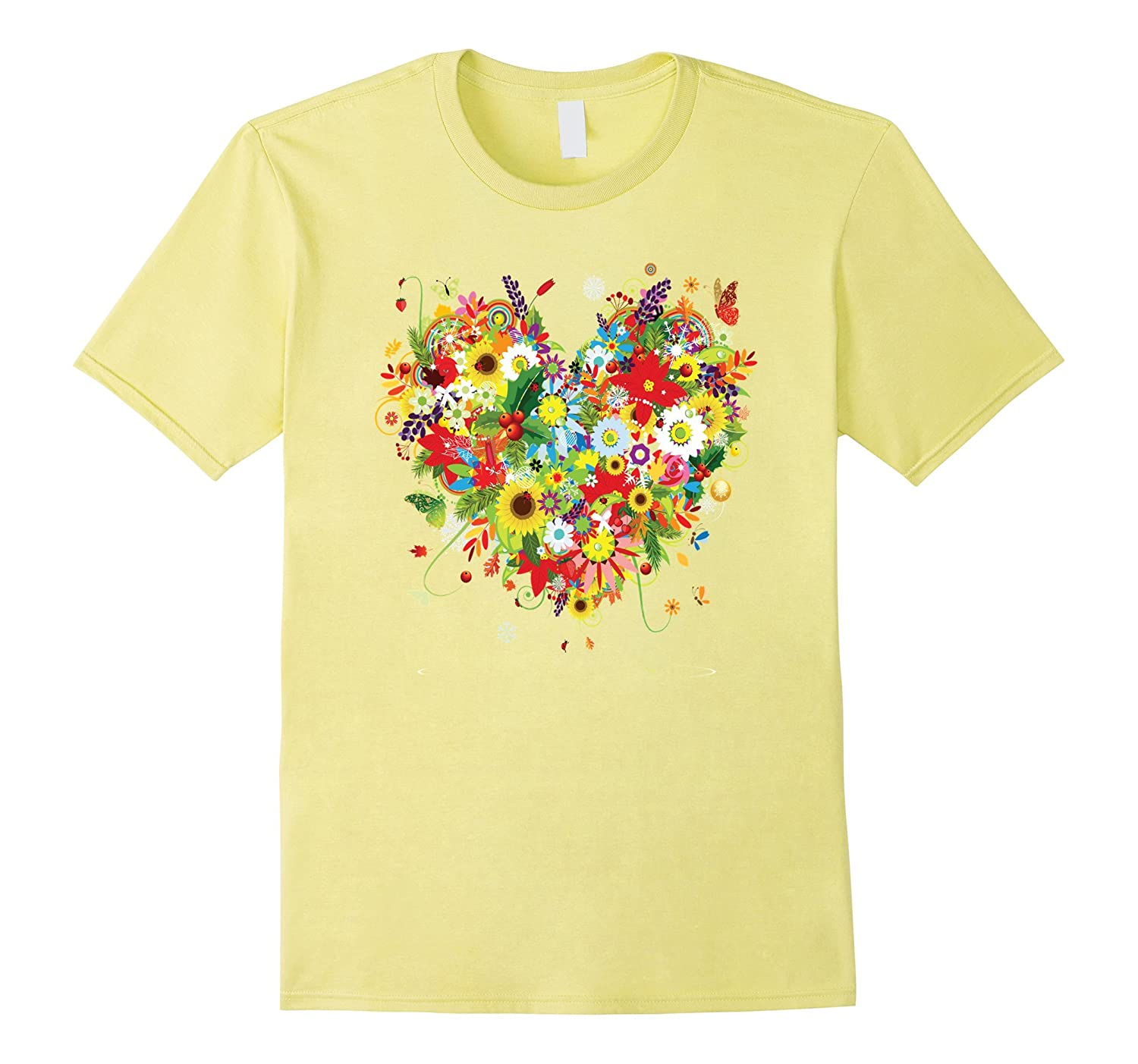 12d28389 Blooming Flowers Heart Daisy Sunflowers Roses Butterfly Tee-PL ...