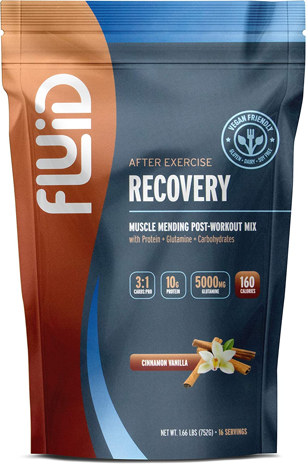 Fluid Recovery Post-Workout Drink Mix, Whey Isolate Protein, All Natural Ingredients, Gluten-Free, Lactose-Free