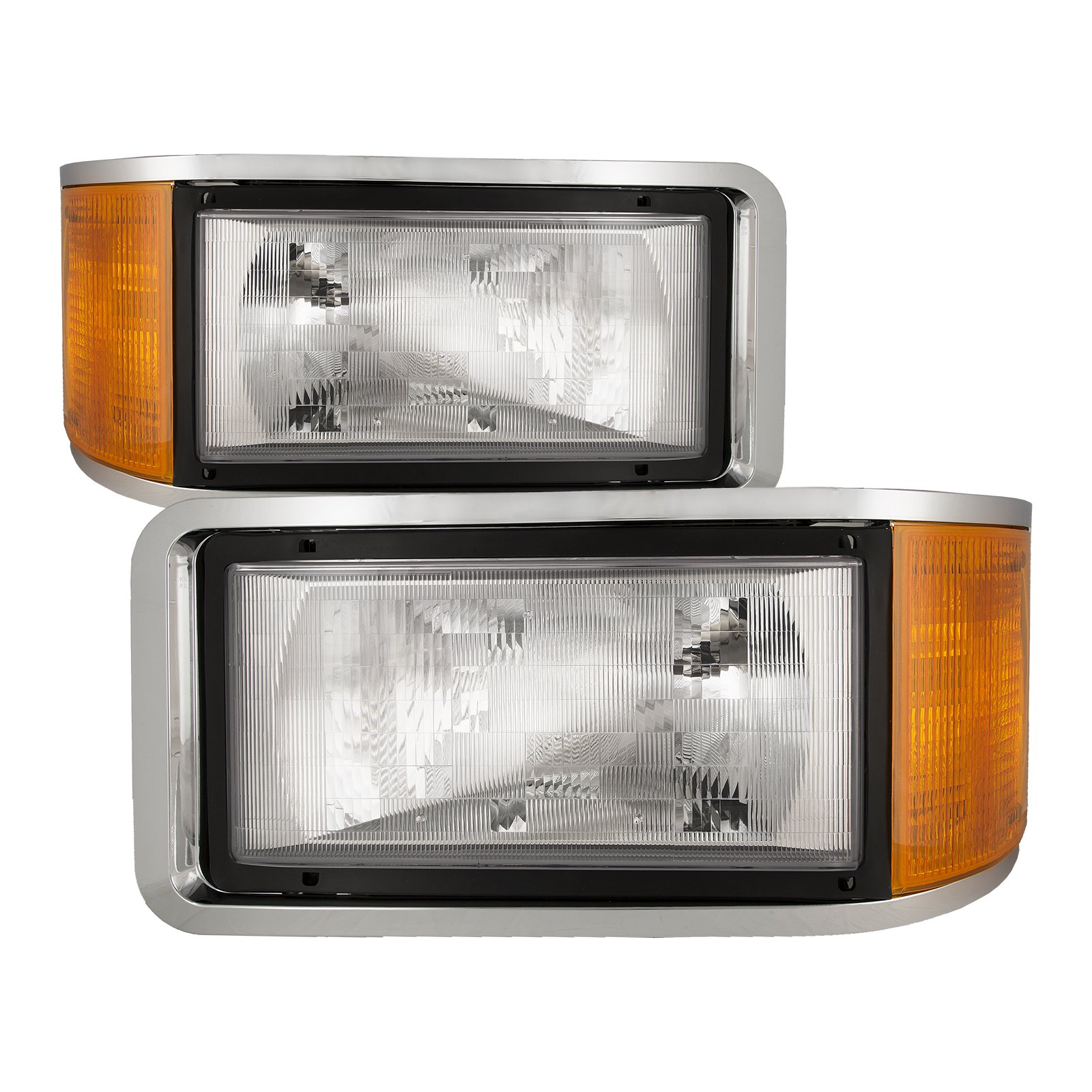 HEADLIGHTSDEPOT Chrome Housing Halogen Headlights Compatible with Mack CH Ch 600 Cl 602 603 700 712 733 Cl612 Cl613 Cl713 Includes Left Driver and Right Passenger Side Headlamps by HEADLIGHTSDEPOT