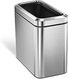 simplehuman 25 Liter / 6.6 Gallon Slim Open Commercial Trash Can, Brushed Stainless Steel