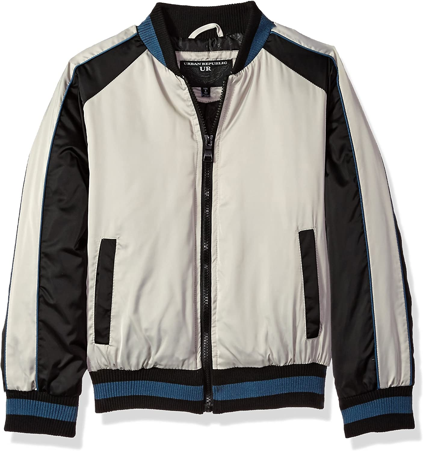 URBAN REPUBLIC boys Heavy Poly Satin Faux Leather Sleeves