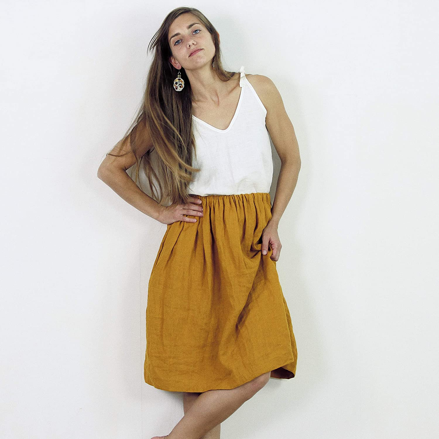 100% Linen Skirt with pockets, Aline washed linen skirt, Casual summer linen skirt with deep pockets, Midi soft, loose linen skirt
