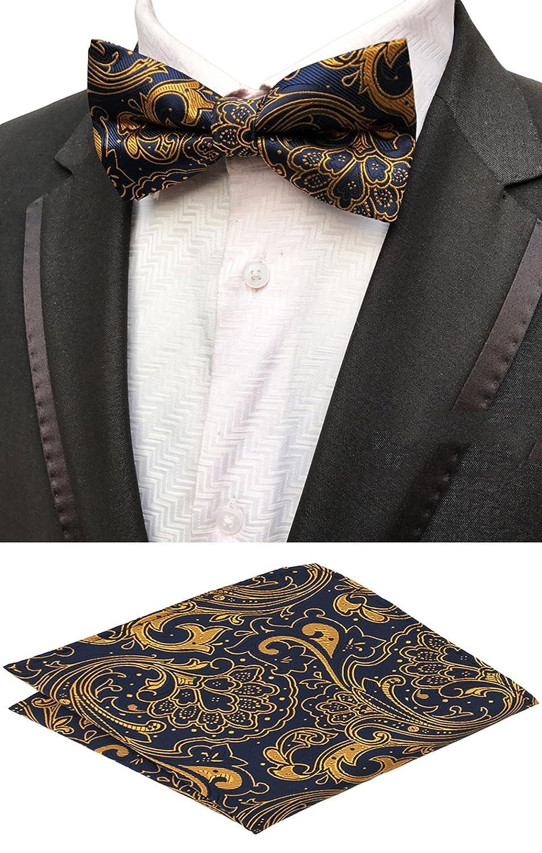MOHSLEE Men's Yellow Floral Pre-Tied Bowtie Party Suit Bow Tie Pocket Square Set qz242