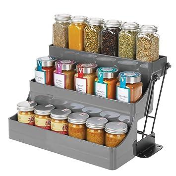 praktische Gew/ürzaufbewahrung aus BPA-freiem Kunststoff zum Herunterziehen kompakter K/üchenorganizer f/ür Gew/ürze MetroDecor mDesign Gew/ürzregal mit 3 Ebenen f/ür den K/üchenschrank bronzefarben