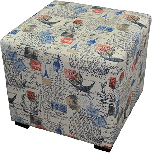 Sole Designs Abstract Square Merton Collection Blue/Orange 4 Button Upholstered Ottoman