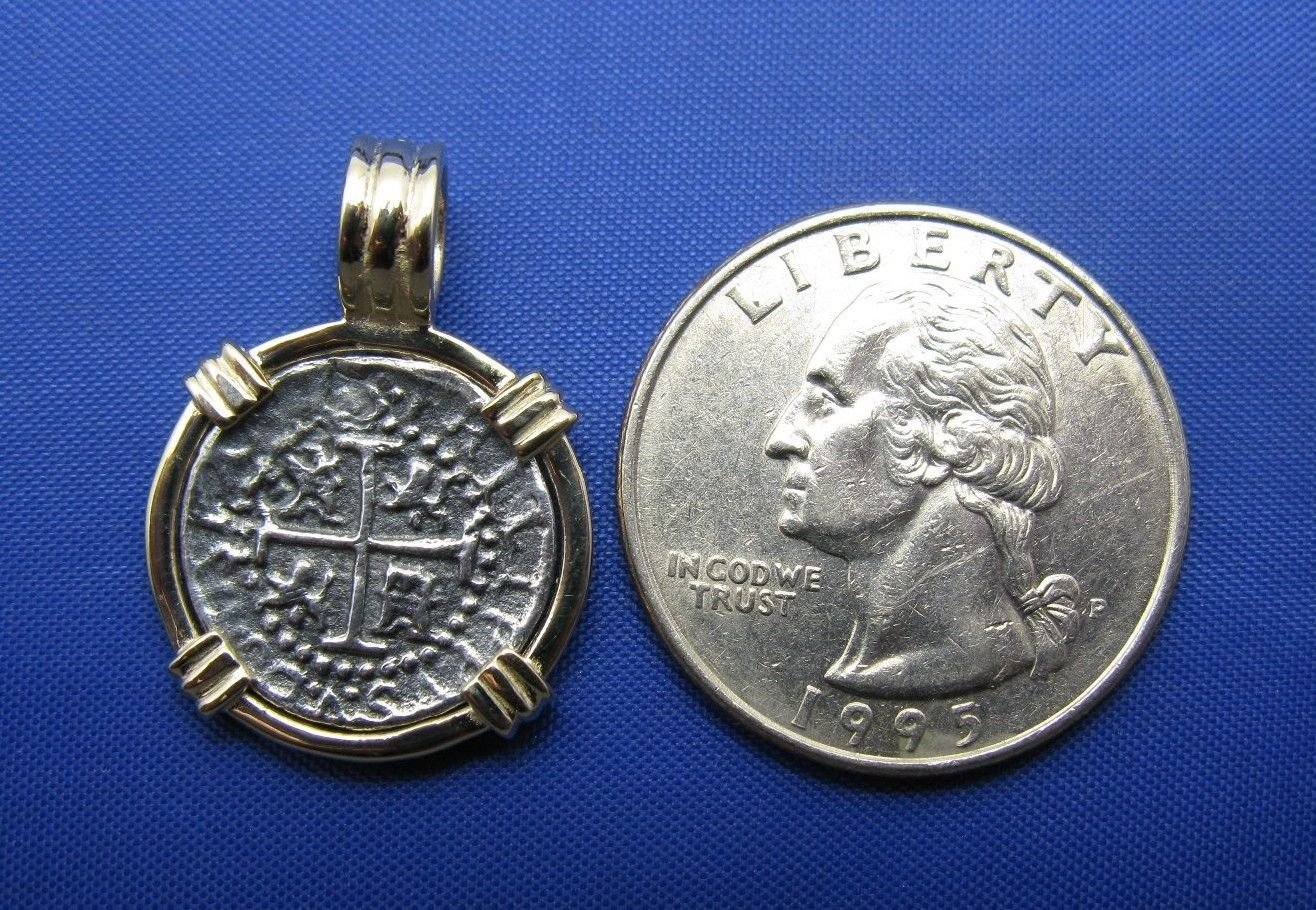 Small Round ''1 Reale'' Pirate Coin Reproduction Cob Pendant with Custom 14k Bezel and Stationary Barrel Bail by Crisol Jewelry (Atocha Shipwreck Replica)